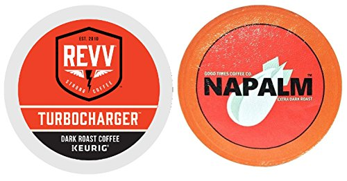 Revv TURBOCHARGER & Napalm Coffee DARK Roast Variety Sampler Extra Bold 48 K-Cups for Keurig Brewers