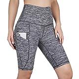"ODODOS Women's 9"" High Waist Biker Shorts Workout Sports Athletic Running Biker Yoga Shorts with Pockets, CharcoalHeather, X-Large"