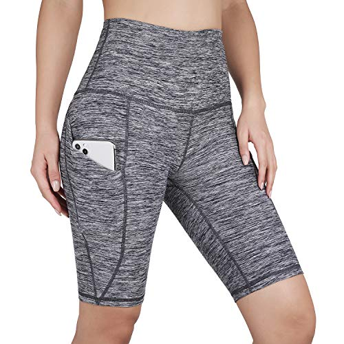 """ODODOS Women's Out Pockets High Waisted Workout 9"""" Shorts, Yoga Athletic Cycling Hiking Sports Shorts,CharcoalHeather,X-Large"""