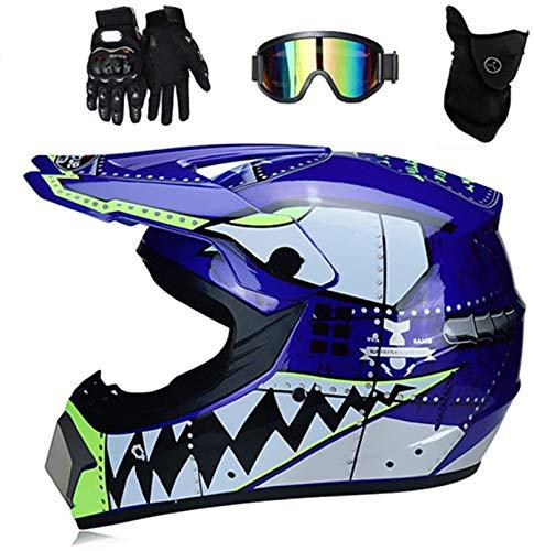 YXLM Casco da motocross MX per bambini Casco da motociclista ATV Casco da squalo multicolore certificato D.O.T con occhiali Guanti, casco da motocross per bambini Set di casco integrale ATV (Blu, M)
