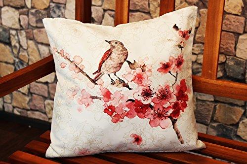 Kamaca Serie Oiseau et Fleurs, Polyester, Blanc/Multicolore, Kissenhülle 40 cm x 40 cm wollweiß