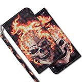 MRSTER Funda para Samsung Galaxy J5 2016, 3D Brillos Carcasa Libro Flip Case Antigolpes Cartera PU Cuero Funda con Soporte para Samsung Galaxy J5 2016. RX 3D Flame Skull