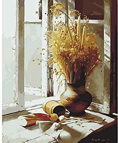 Schilderen op nummer olie foto diy handgemaakte muur canvas figuur verf home decor vensterbank gedroogde bloem 40x50 cm frameloze