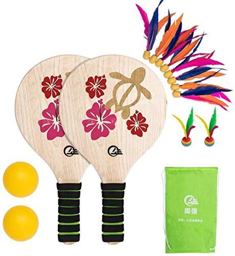 HLD Beach-Tennis und Badmintonschläger Paddel Set Holzschläger Paddles Set im Freien Spiel for Erwachsene Kinder mit 2 PingPong Balls 10 Shuttlecock Spielzeug: Spaß und klassische Paddleball Spiel for