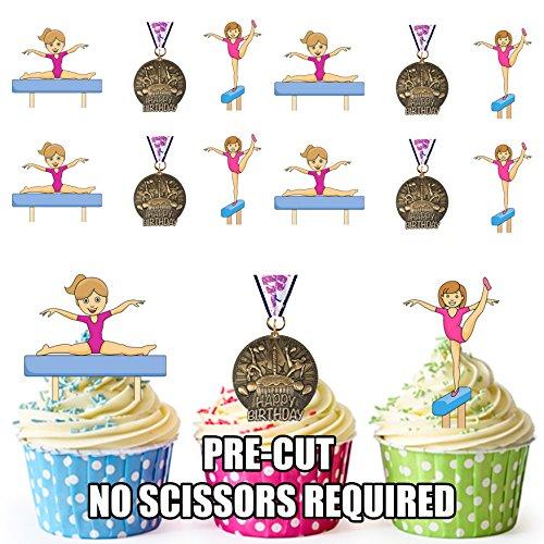 12 x gimnasia medalla de cumpleaños para diseño de cuadros chicas - comestibles función atril UPS adornos para tartas Tarjeta de cuadrícula