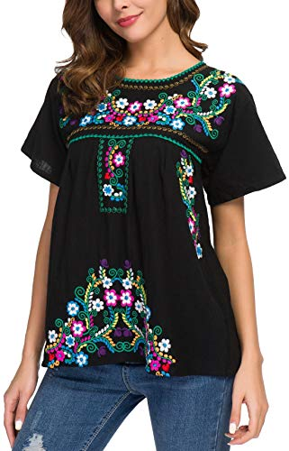 YZXDORWJ Women's Embroidered Mexican Peasant Blouse (3XL, B169)