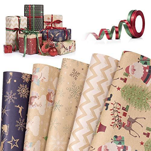 Papel kraft para envolver Navidad,WolinTek 5 Hojas Papel Para Envolver Regalos + 2 Rollos Cuerdas,Diferentes Patrones De DiseñO Papel Para Envolver Regalos Papel Para Envolver Kraft, 50x70 cm