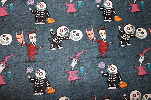 Nightmare Before Christmas Fabric Lock Shock and Barrel with Skulls Sold by The Fat Quarter (18' X 22') New BTFQ