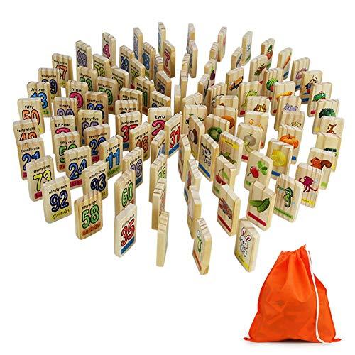 Symiu Domino Madera Bloques Madera Iinfantil Numeros Animales Fruto Figure Juguete Domino 100 Piezas para Niños 3 4 5+