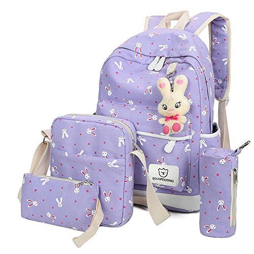 Rucksack Mädchen Damen, VECOLE Backpack Kaninchen-Anhänger Rucksack Schultasche Reiserucksack Campus Studenten Tasche für Kindergarten/Park/Reise(Lila)