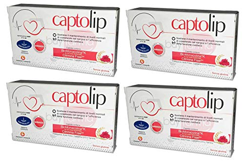 BUYFARMA PROMO PACK - 4X Captolip da 24 Compresse - Aiuta il Mantenimento dei Normali Livelli di Colesterolo - Totale 96 Compresse + OMAGGIO A SORPRESA