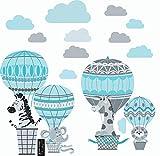 greenluup Wandsticker Wandtattoo Kinderzimmer Heißluftballon Hellblau Grau Tiere Wolken Waldtiere Kinderzimmer Babyzimmer Baby (C4)