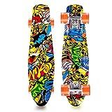 Lusper Skateboard Complete Mini Cruiser Retro Skateboard for Kids Teens Adults, All-in-One Skate for Beginners
