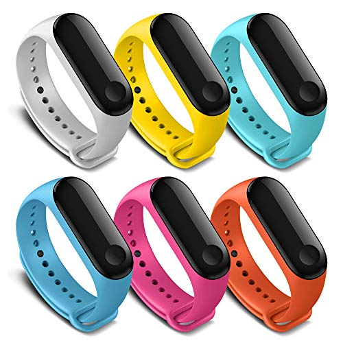 AWINNER Bands Compatible with Xiaomi Mi Band 4 Smartwatch Wristbands Replacement Band Accessaries Straps Bracelets for Mi4 (6 Colors)