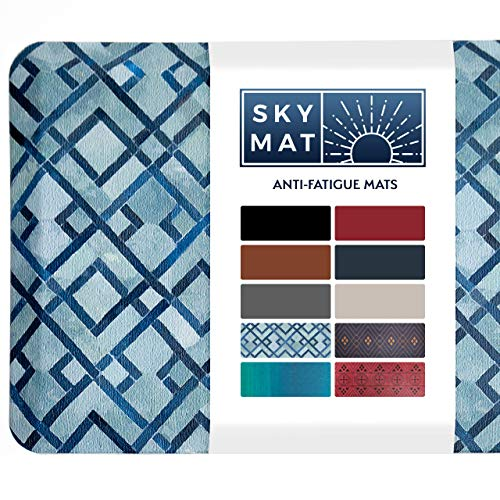 Sky Solutions Anti Fatigue Mat - Cushioned Comfort Floor Mats for Kitchen, Office & Garage - Padded Pad for Office - Non Slip Foam Cushion for Standing Desk (20x39x3/4-Inch, Blue Diamond)