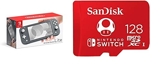 Nintendo Switch Lite - Gray with SanDisk 128GB MicroSDXC UHS-I Card for Nintendo Switch