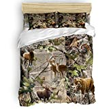 Romance House Duvet Cover Set California King Size, 3 Piece Realtree Camo Rustic Deer Elk Bird Bear Bedding Set - 1 Quilt Cover 2 Pillow Cases for Childrens/Kids/Teens/Adults