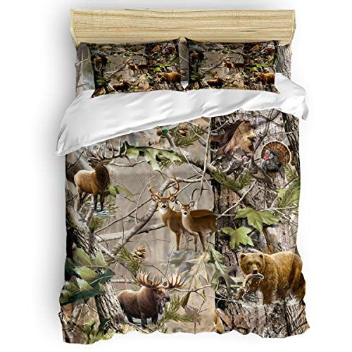 Romance House Duvet Cover Set Full Size, 3 Piece Realtree Camo Rustic Deer Elk Bird Bear Bedding Set - 1 Quilt Cover 2 Pillow Cases for Childrens/Kids/Teens/Adults