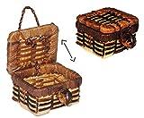Unbekannt Korb / Wäschekorb / Picknickkorb mit Deckel - Miniatur / Maßstab 1:12 - Lebensmittel...