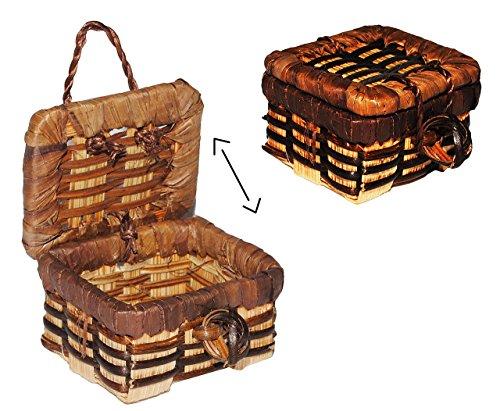 alles-meine.de GmbH Korb / Wäschekorb / Picknickkorb mit Deckel - Miniatur / Maßstab 1:12 - Lebensmittel Zubehör Küche Puppenstube / Puppenhaus - Picknick-Korb Weidenkorb Bastkor..