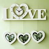 reloj de pared de Madera Marcos de Fotos en la Forma del corazón del Amor del diseño