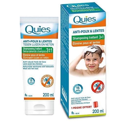 Quies - Shampoing traitant 3 en 1 Elimine Anti Poux et Lentes - 200 ml