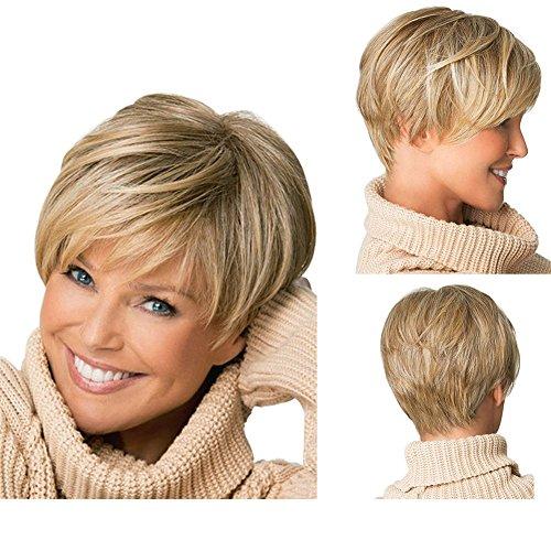 Tonake 0081 -Peluca de pelo corto rubio ligeramente ondulado resistente al calor para las mujeres