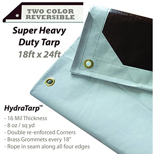 HydraTarp 18 Ft. X 24 Ft. Super Heavy Duty Waterproof Tarp - 16mil Thick - White/Brown Reversible...