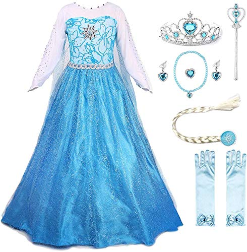 JerrisApparel Princess Dress Queen Costume Cosplay Dress Up with Accessories (5-6, Blue with Accessories)