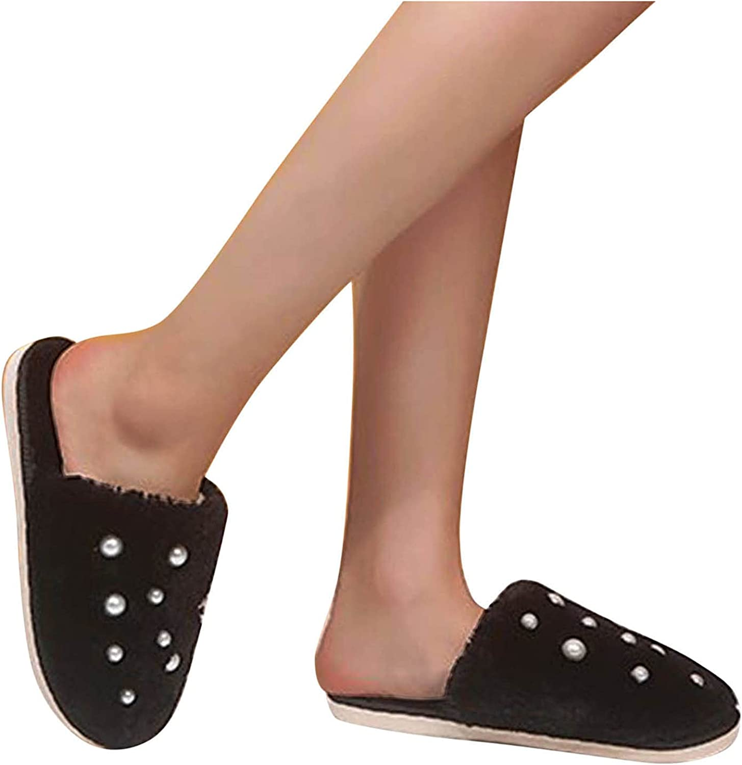 Sacramento Mall Hunauoo Slippers for Max 49% OFF Women Pearl Home Cotton Furry Slip
