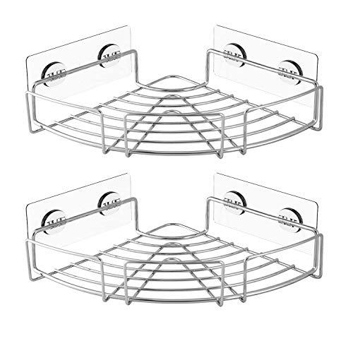SANNO Duschkörbe & ablagen Selbstklebender Duschwagen Korb SUS304 Edelstahl Badezimmerregal - Wandhalterung für Bad und Küche - 2 Sets