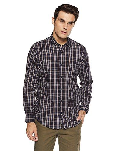 Peter England Men's Casual Shirt (8907696289035_ESF51702557_42_Darkbrownwithblue)
