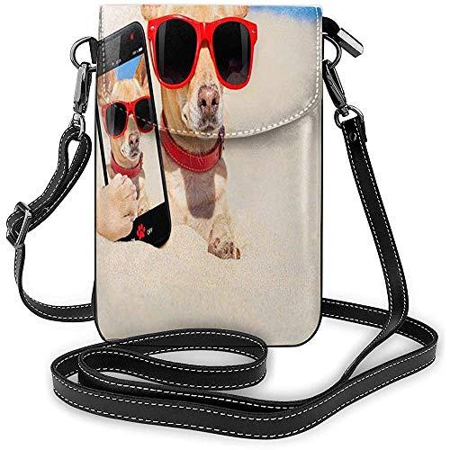 Handy Geldbörse Hunde Chihuahua Brille Umhängetasche Damen Leicht tragbare kleine Geldbörse wasserdichte PU Leder Mini Umhängetasche Pflegeleichte Telefon Geldbörse Für Shopping Date Wandern