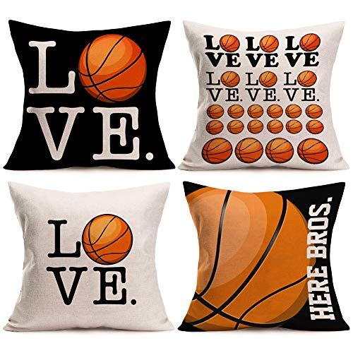 Asamour Love Basketball Pillowcase Set of 4 Popular Sport Basketball Design Cotton Linen Throw Pillow Case Cushion Cover Protector Pillow Sham for Basketball Fans 18''x18'',Black,White,Orange