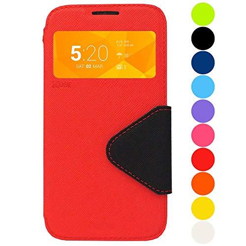 Roar Premium Hülle für Samsung Galaxy Note 3 Neo Handyhülle, Flip Hülle Schutzhülle Tasche Hülle für Samsung Galaxy Note 3 Neo, Klapphülle mit Fenster in Rot