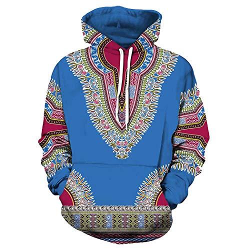 Unisex African Print Dashiki Long Sleeve Fashion Hoodies Sweatshirts with Pocket for Men Women Boys Girls (Blue, L)