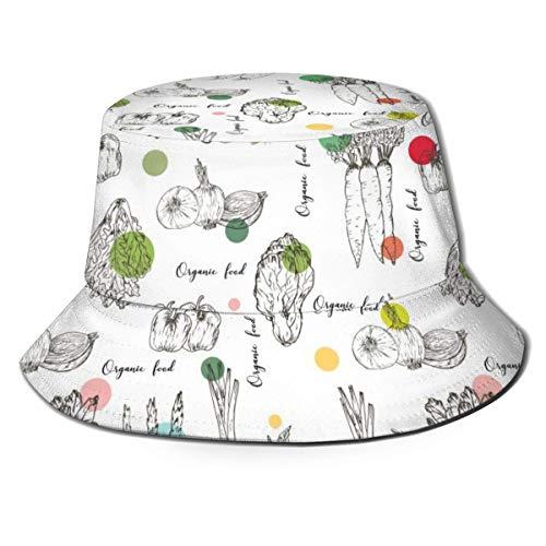 Verduras de Granja Alimentos orgánicos Sombrero de Cubo de Sol Gorra de Pescador de Moda Divertida de Verano para Hombres Mujeres Negro