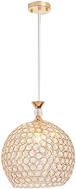 ATC Chandelier Fixture Single Head Golden Globe Pendant Light with K9 Crystal Adjustable Cord Indoor Dining Room Lighting