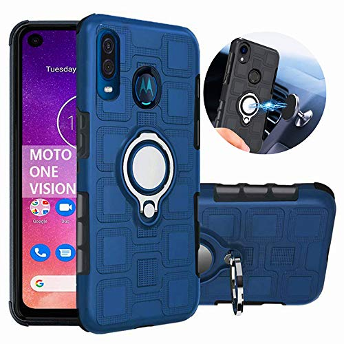 Motorola One Vision Holster Case, Moto One Vision Case, Moto P40 Case, L00KLY Dual Layer Shockproof Protective Case with 360 Degree Rotating Ring Holder Kickstand Fit Magnetic Car Mount for Motorola Moto One Vision (Navy Blue)
