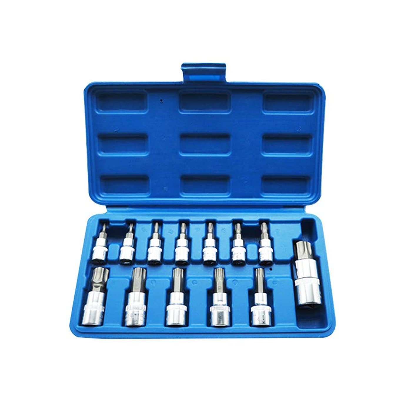 Bostar トルクスネジ用ビットセット 13点ソケットセット 差込角 6.35mm(1/4インチ) 10mm(3/8インチ) 12.6mm(1/2インチ) 収納ボックス付き