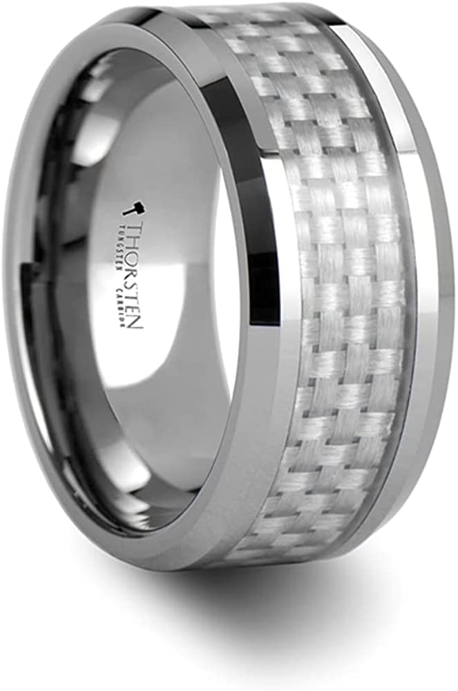 Mens Comfort Fit -Beveled Tungsten White Ring Wedding - Genuine Free Shipping Quantity limited Carbide