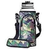RoryTory Neoprene Water Bottle Sleeve Carrier Holder with Shoulder Strap, Pouch, Pocket & Carrying Handle (Fits 32oz / 40oz Hydro Flask, Nalgene, Juglug, Contigo, etc) - Green Camouflage
