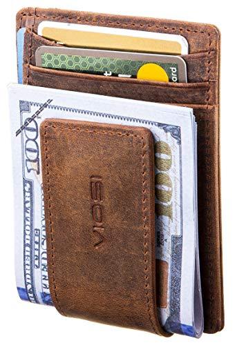 Viosi RFID Men's Leather Magnetic Front Pocket Money Clip Wallet (Hunter)