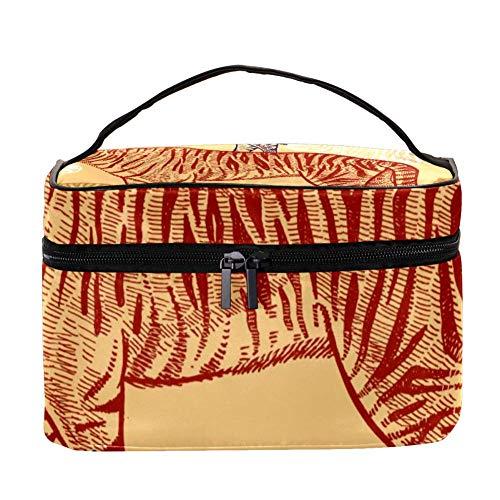 Shiiny Colored Tiger Multifunción Organizador portátil de artículos de aseo para mujer, bolsas de cosméticos de viaje con bolsillo de malla