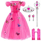 Princess Dress Up Party Costumes with Deluxe Accessories Set 4-5 Years(Rose Red 110cm)