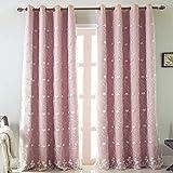 Michorinee - Cortina para habitación infantil, diseño de flores bordadas, color rosa, oscurecimiento, 2 capas con ojales para la habitación de las niñas, 1 pieza 210 x 132 cm (alto x ancho).