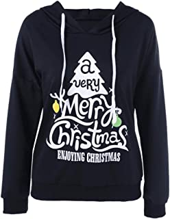 YOCheerful Christmas Sweatshirt Women's Long Sleeve Hooded Tops Autumn Winter Printed Solid Color Pullover