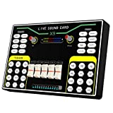 X9 Mini Audio Mixer Sound Card With Dsp Independent Reverb Chip, 48V Power Multiple Sound Effects For Live Streaming Studio Recording Karoke Singing For PC Or Mobile Phone…