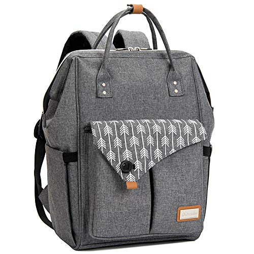 Lekebaby Nappy Changing Bag Backpack with Changing Mat, Arrow Print, Grey
