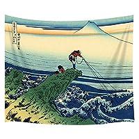 大きな海の波の寝室のリビングルームの寮の壁掛けタペストリー毛布の壁の装飾とリーフフィッシングの日本壁タペストリー漁師3Dプリントアートタペストリーベッドカバー152cm x 130cm